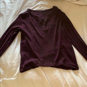Brandy Melville Burgundy Long Sleeve Top